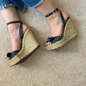 Navy Blue Polka Dot Wedged Sandals 7